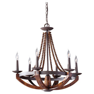 Chatsworth Burnished Wood and Iron Six-Light Chandelier