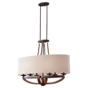 Chatsworth Burnished Wood and Iron Six-Light Chandelier with Beige Linen Shade
