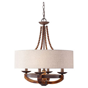 Chatsworth Burnished Wood and Iron Four-Light Chandelier with Beige Linen Shade