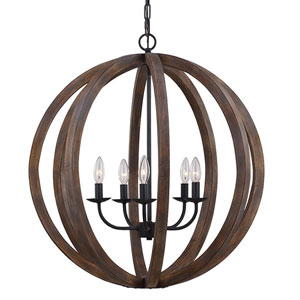 Hyattstown Weathered Wood and Iron Five-Light Chandelier