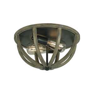 Hyattstown Weathered Wood and Iron Two-Light Flush Mount