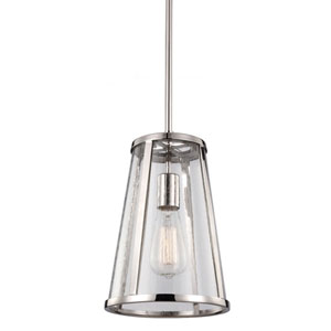 Layton Polished Nickel One-Light Mini-Pendant with Clear Glass