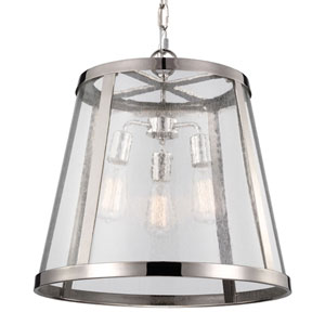 Layton Polished Nickel Three-Light Lantern Pendant with Clear Glass