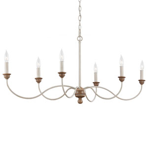 Cecilia White Washed Six-Light Chandelier