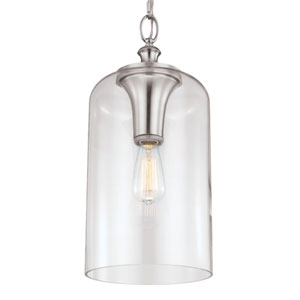 Vale Brushed Steel 19-Inch One-Light Mini-Pendant with Clear Glass