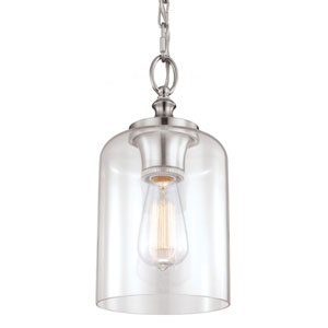 Vale Brushed Steel 13-Inch One-Light Mini-Pendant with Clear Glass