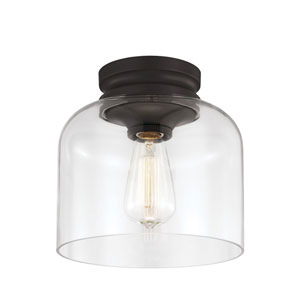 Vale Rubbed Bronze One-Light Flush Mount with Clear Glass