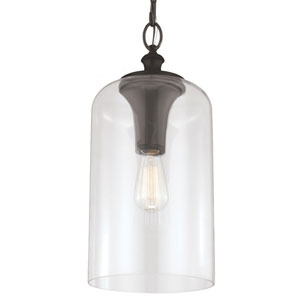 Vale Rubbed Bronze 19-Inch One-Light Mini-Pendant with Clear Glass