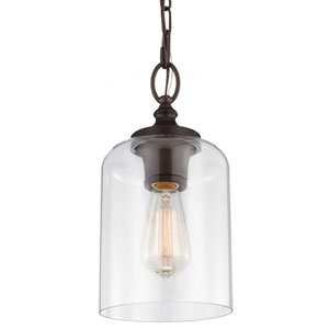 Vale Rubbed Bronze 13-Inch One-Light Mini-Pendant with Clear Glass
