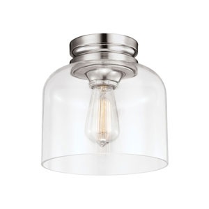 Vale Polished Nickel One-Light Flush Mount with Clear Glass