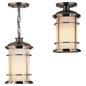 Rhett Brushed Steel One-Light Outdoor Pendant