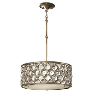 Crystalis Burnished Silver Three-Light Drum Pendant with Crystal