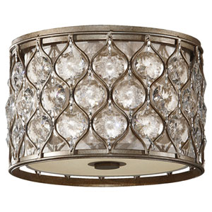 Crystalis Burnished Silver Two-Light Drum Flush Mount with Crystal