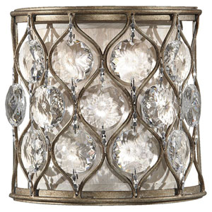Crystalis Burnished Silver One-Light Wall Sconce with Crystal