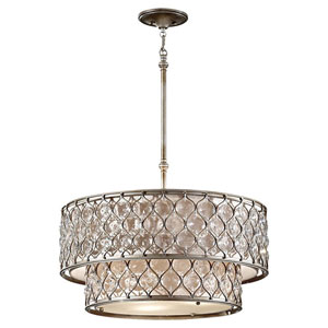 Crystalis Burnished Silver Six-Light Drum Pendant with Crystal