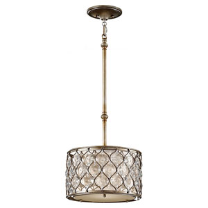 Crystalis Burnished Silver One-Light Drum Pendant with Crystal