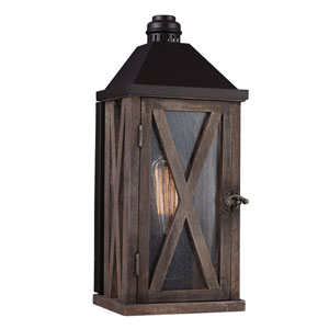 Ednor Oak and Rubbed Bronze One-Light Outdoor Wall Mount