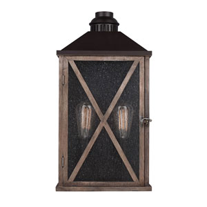 Ednor Oak and Rubbed Bronze Two-Light Outdoor Wall Mount