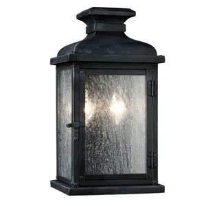 Wright Dark Weathered Zinc 13-Inch Two-Light Outdoor Wall Mount
