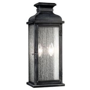 Wright Dark Weathered Zinc 18-Inch Two-Light Outdoor Wall Mount