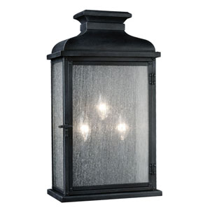 Wright Dark Weathered Zinc 18-Inch Three-Light Outdoor Wall Sconce