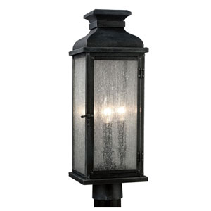 Wright Dark Weathered Zinc Two-Light Outdoor Post Mount