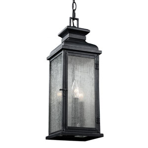 Wright Dark Weathered Zinc Three-Light Outdoor Pendant