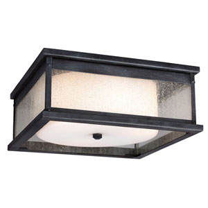 Wright Dark Weathered Zinc Three-Light Outdoor Flushmount