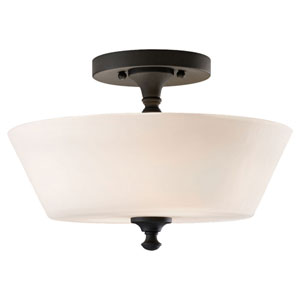 Hyde Black Two-Light Drum Semi-Flush Mount