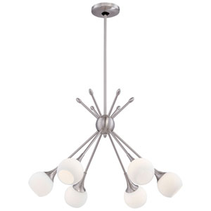 Apollo Brushed Nickel Six-Light Chandelier