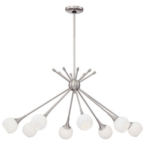 Apollo Brushed Nickel 22-Inch Eight-Light Chandelier