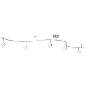 Nile Brushed Nickel Five-Light Monorail Track Light with Etched Glass Shades