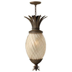 Fleur Pearl Bronze One-Light Outdoor Pendant with Amber Glass