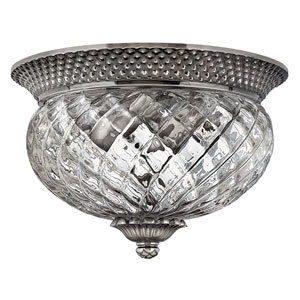 Fleur Polished Antique Nickel Two-Light Flush Mount