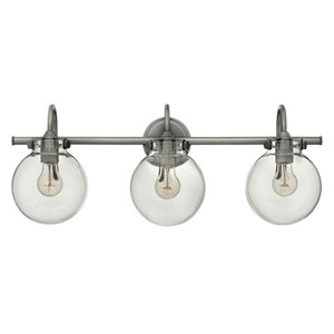 Irving Antique Nickel Three-Light Vanity with Glass Globe Shade