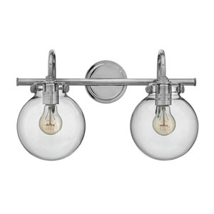 Irving Chrome Two-Light Vanity with Glass Globe Shade