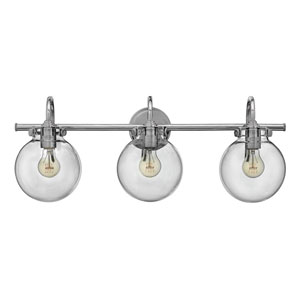 Irving Chrome Three-Light Vanity with Glass Globe Shade