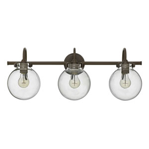 Irving Rubbed Bronze Three-Light Vanity with Glass Globe Shade
