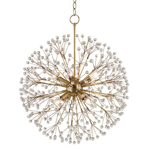 Broome Aged Brass Eight-Light Chandelier