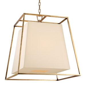 Elrington Aged Brass Six-Light Lantern Pendant with Cream Shade