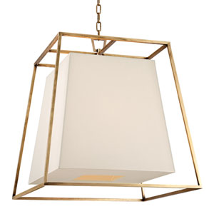 Elrington Aged Brass 24-Inch Four-Light Lantern Pendant with White Faux Silk Shade