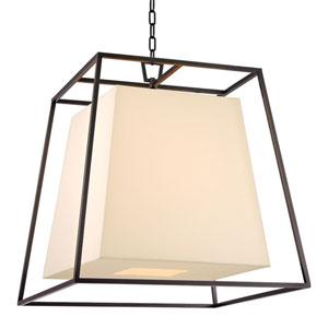 Elrington Old Bronze Six-Light Lantern Pendant with Cream Shade