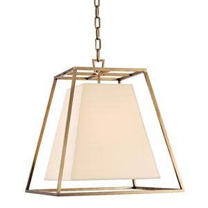 Elrington Aged Brass Four-Light Lantern Pendant with Cream Shade