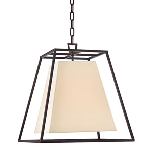 Elrington Old Bronze Four-Light Lantern Pendant with Cream Shade