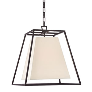 Elrington Old Bronze 17-Inch Four-Light Lantern Pendant with White Faux Silk Shade