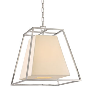 Elrington Polished Nickel Four-Light Lantern Pendant with Cream Shade