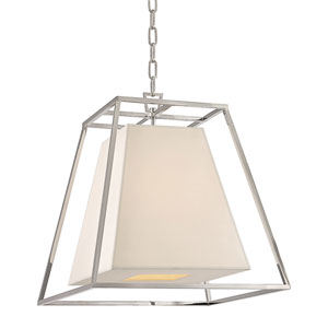 Elrington Polished Nickel 17-Inch Four-Light Lantern Pendant with White Faux Silk Shade