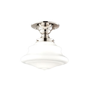 Bingham Polished Nickel Nine-Inch One-Light Schoolhouse Semi-Flush Mount