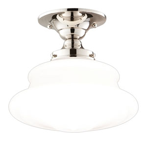 Bingham Polished Nickel 13-Inch One-Light Schoolhouse Semi-Flush Mount