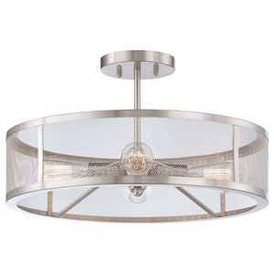 Carlton Brushed Nickel Four-Light Drum Semi-Flush Mount